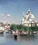 Venetian Lagoon the Church of St. Maria della Salute by  Martin Rico Ortega (Painting ID: CI-1701-KA)
