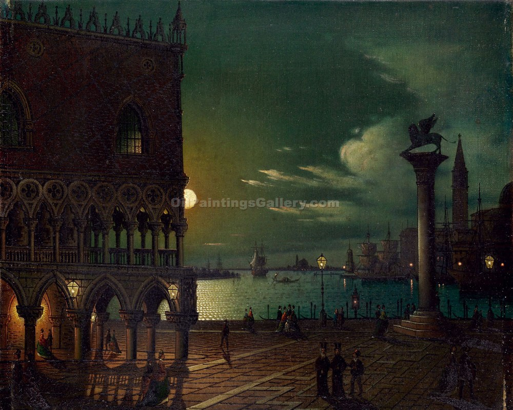 Venice 37 by Ippolito Caffi | Canvas Oil Painting - Oil Paintings Gallery