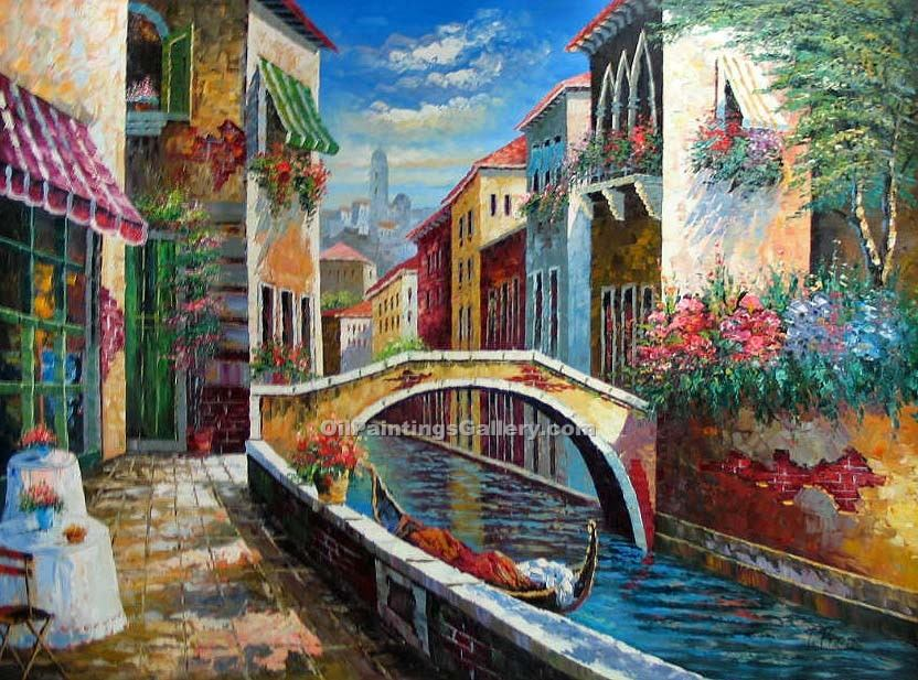 Buy City Oil Paintings Online | Realism & Naturalism styles | Venice Scene 98