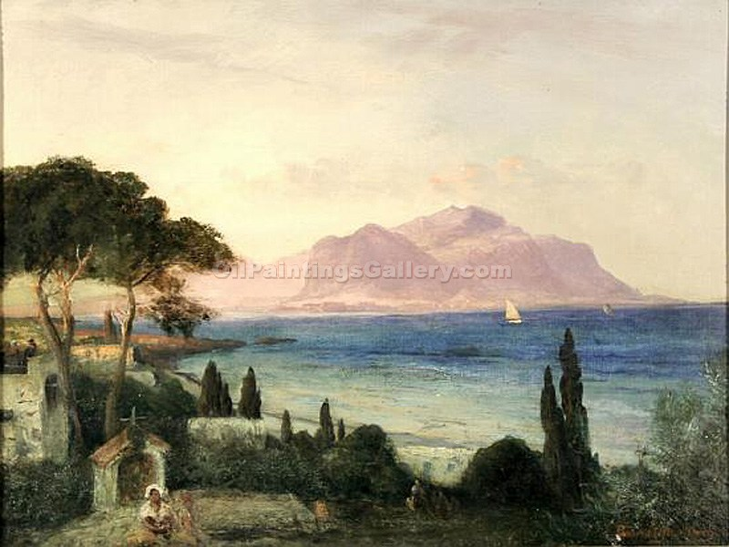 """View Over the Bay from Palermo"" by  Oswald Achenbach"