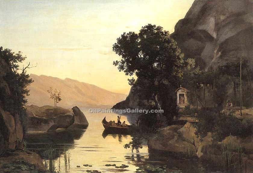 """View at Riva Italian Tyrol"" by  Jean Baptiste Corot"