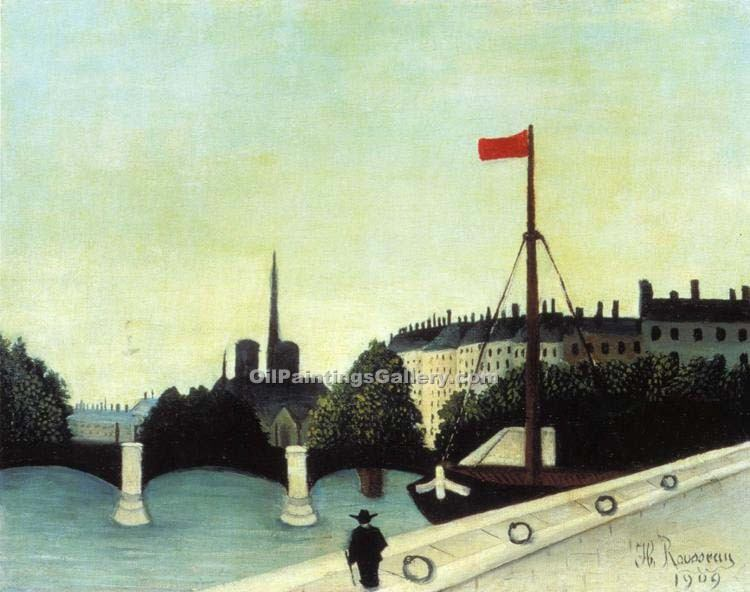 """View from the Quai Henri IV"" by  Henri Rousseau"