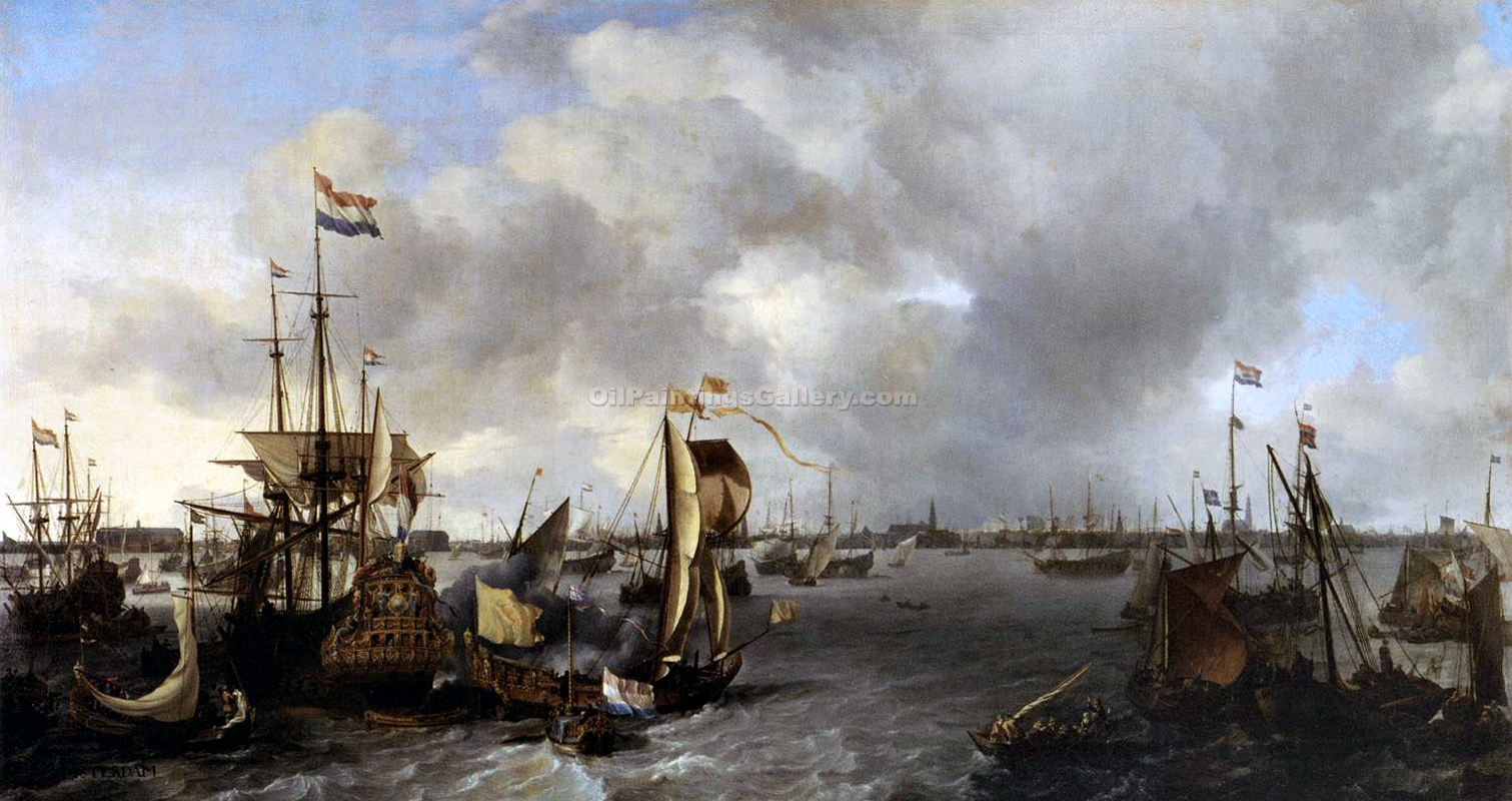 """View of Amsterdam with Ships"" by  Ludolf Backhuysen"