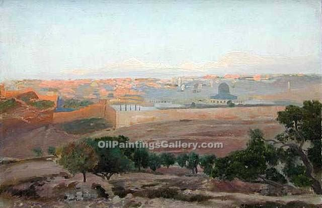 View of Jerusalem by Gustav Bauernfeind | Paintings On Canvas For Sale - Oil Paintings Gallery