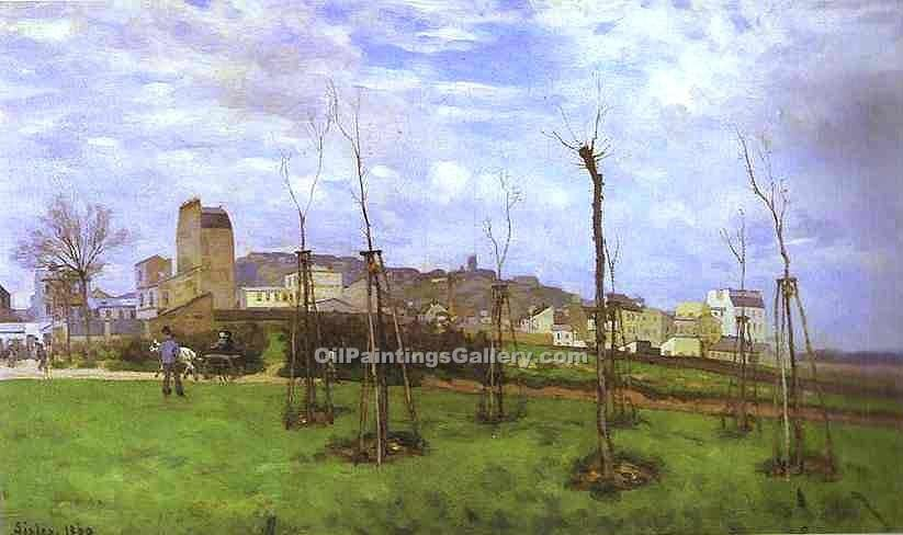 """View of Montmartre from the cite des Fleurs"" by  Alfred Sisley"