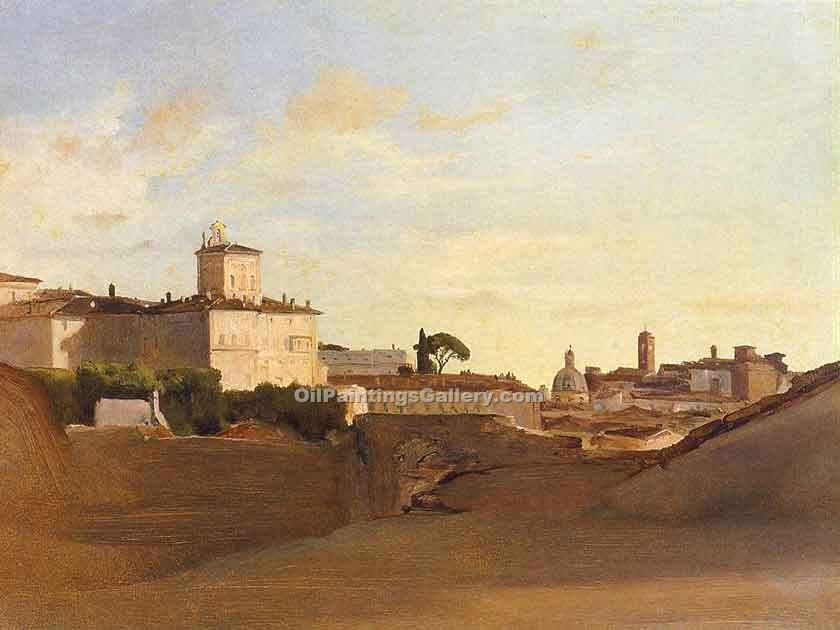 """View of Pincio Italy"" by  Jean Baptiste Corot"