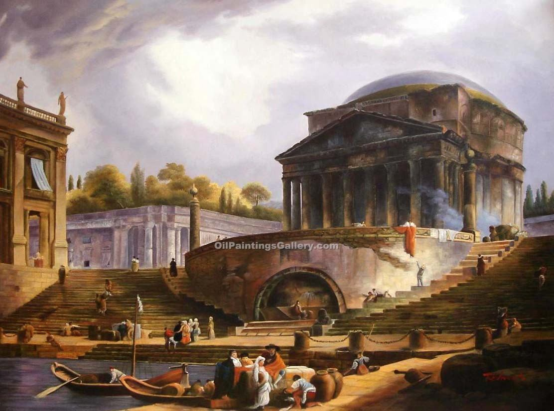 """View of Ripetta Rome"" by  Hubert Robert"
