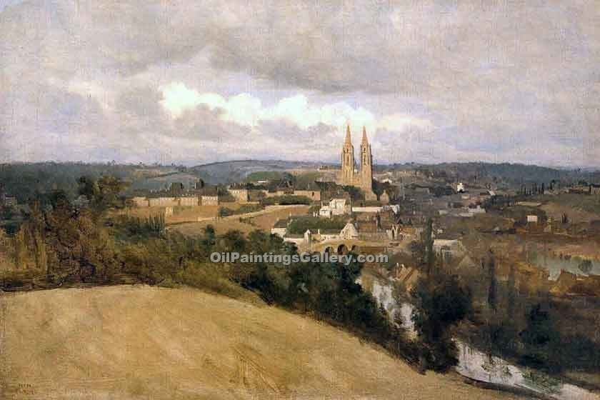 """View of Saint Lo"" by  Jean Baptiste Corot"