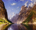 View of a Fjord by  Adelsteen Normann (Painting ID: LA-3236-KA)