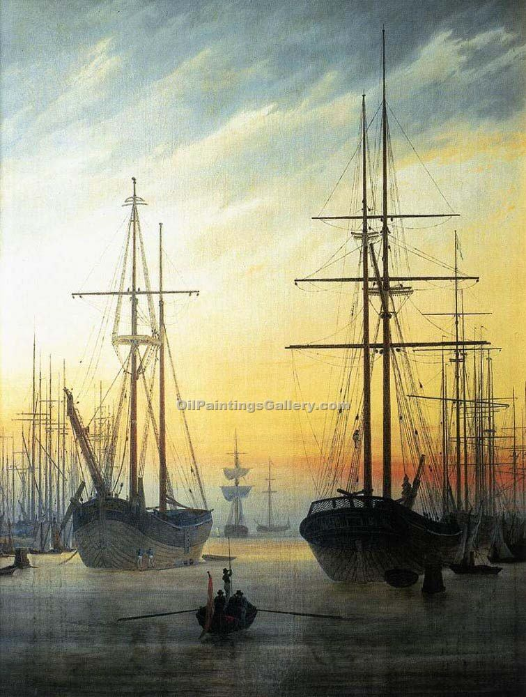 View of a Harbour by Caspar David Friedrich | Best Place To Buy Paintings Online - Oil Paintings Gallery