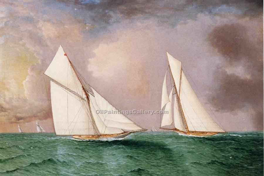 """Vigilant and Valkyrie II in the 1893 America s Cup Race"" by  James E Buttersworth"