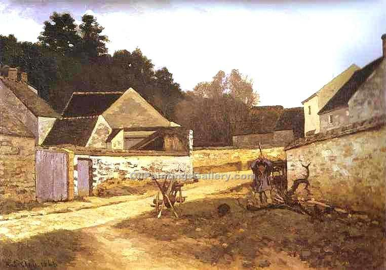 Village Street in Marlotte by Alfred Sisley | Online Canvas Painting - Oil Paintings Gallery