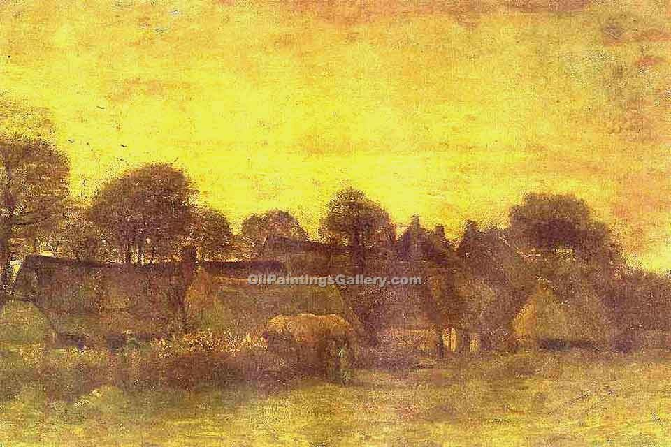 """Village at Sunset"" by  Vincent Van Gogh"