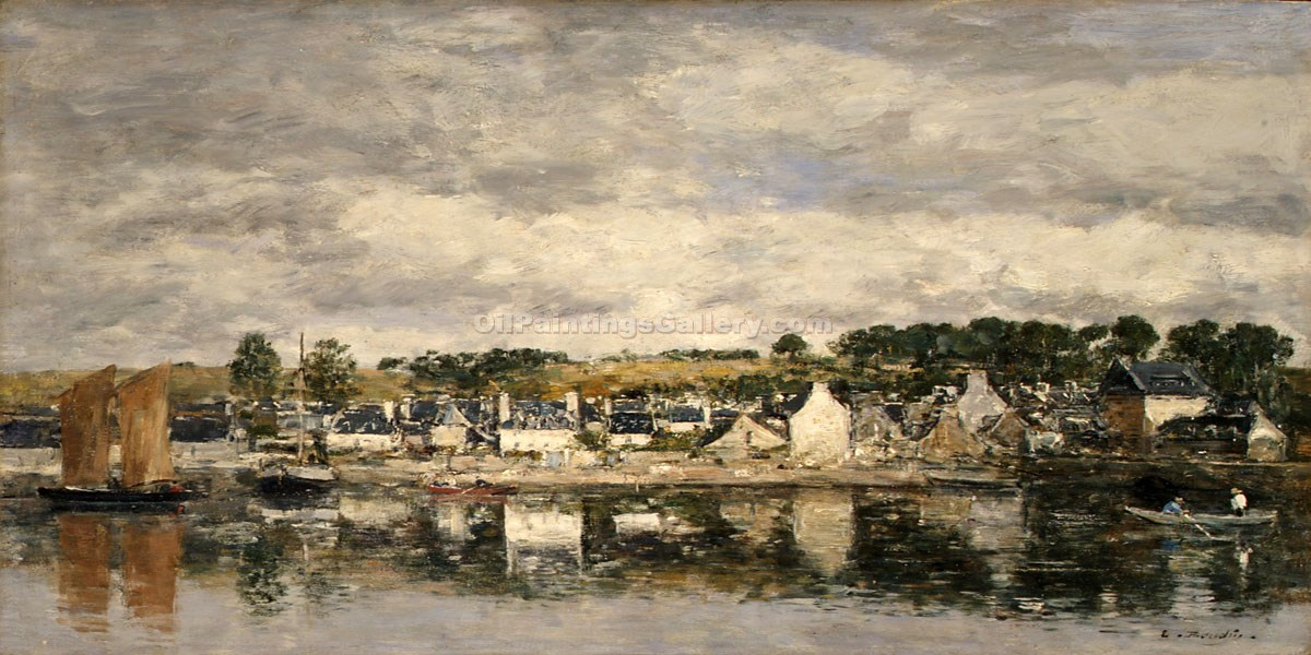 """Village by a River"" by  Eugene Louis Boudin"