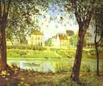 Village on the Banks of the Seine by  Alfred Sisley (Painting ID: LA-0339-KA)
