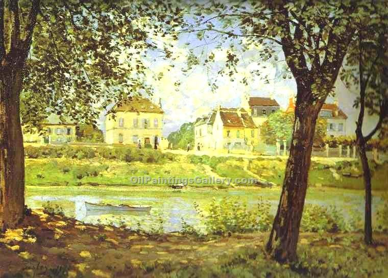 """Village on the Banks of the Seine"" by  Alfred Sisley"