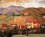 Village with Mountains by  Egon Schiele (Painting ID: LA-0890-KA)