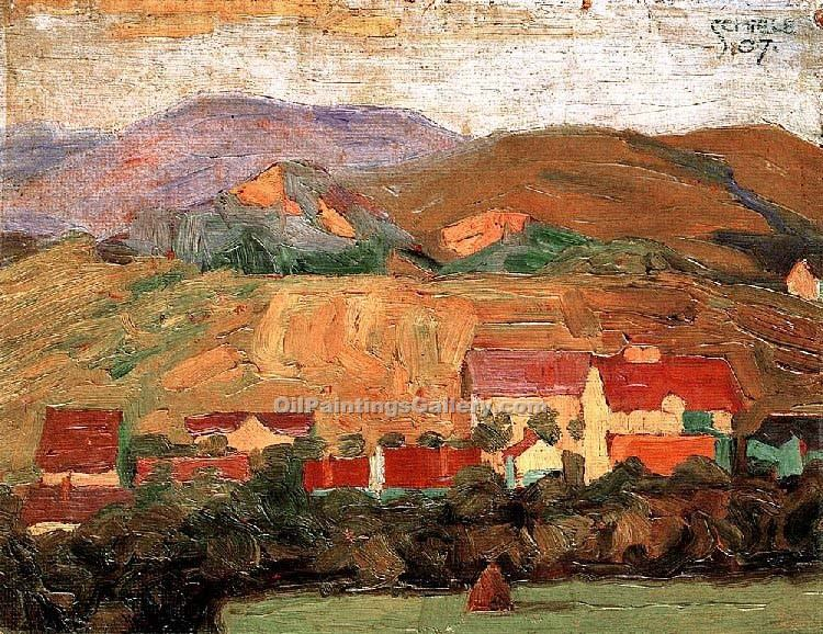 """Village with Mountains"" by  Egon Schiele"