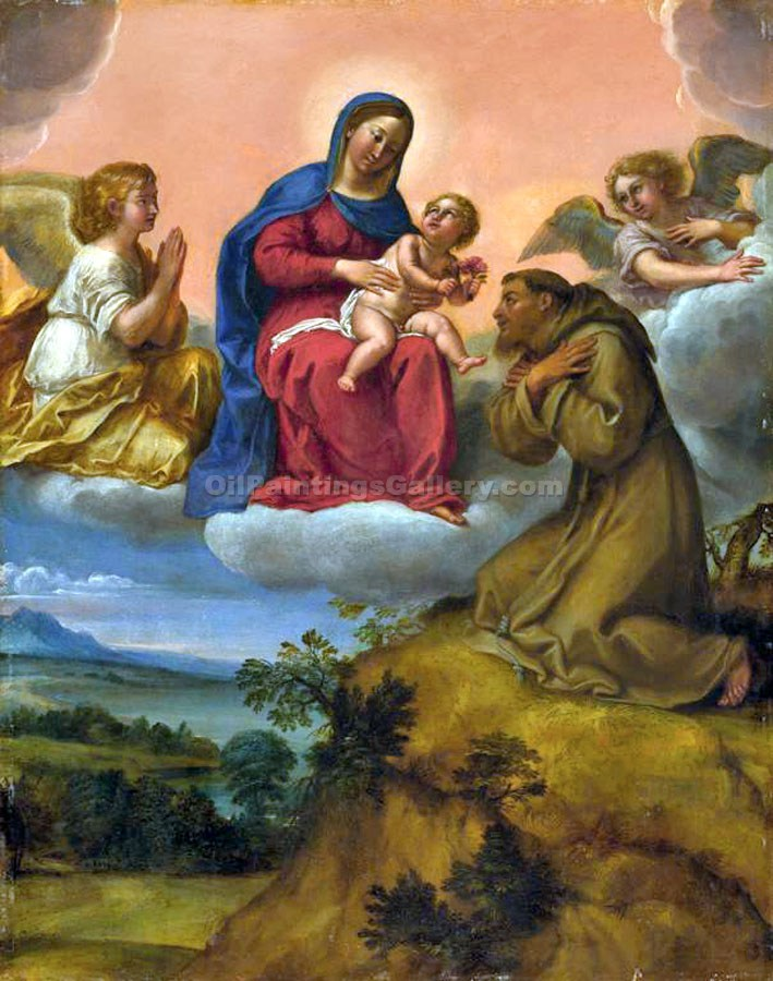 """Virgin and Child Adored by Saint Francis 87"" by  Francesco Albani"