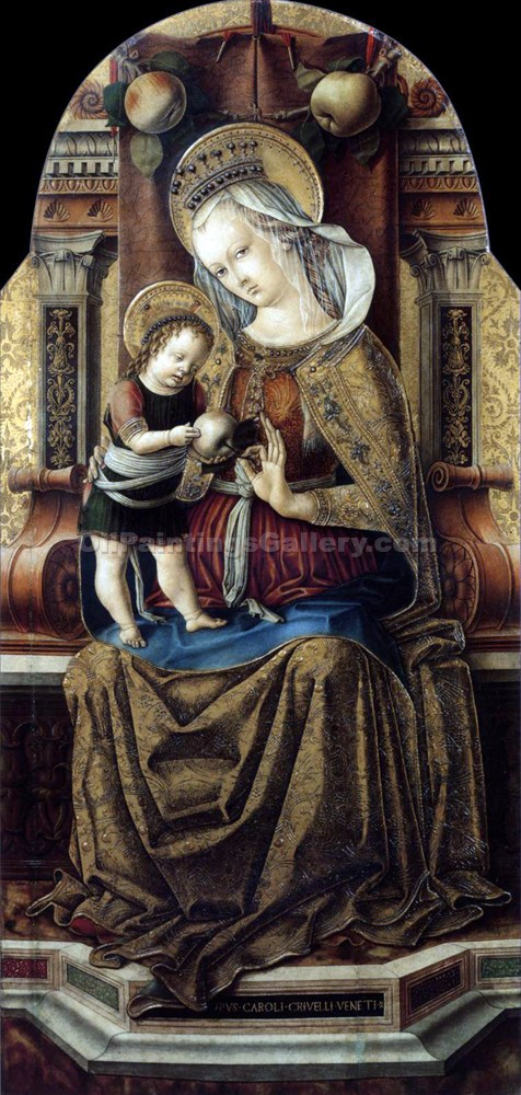 Virgin and Child Enthroned 13 by CarloCrivelli | Portrait Paintings - Oil Paintings Gallery