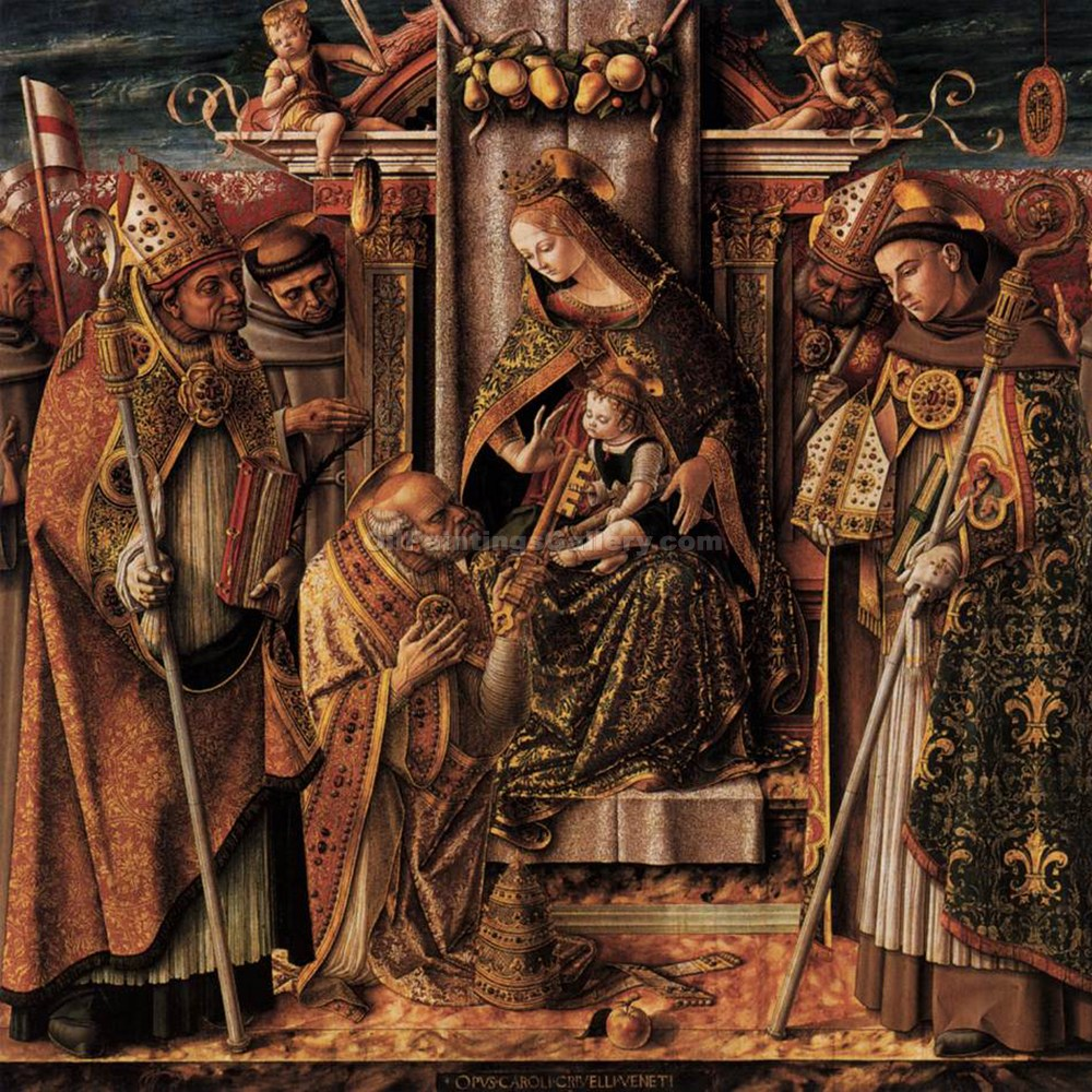 """Virgin and Child Enthroned with Saints 15"" by  Carlo Crivelli"