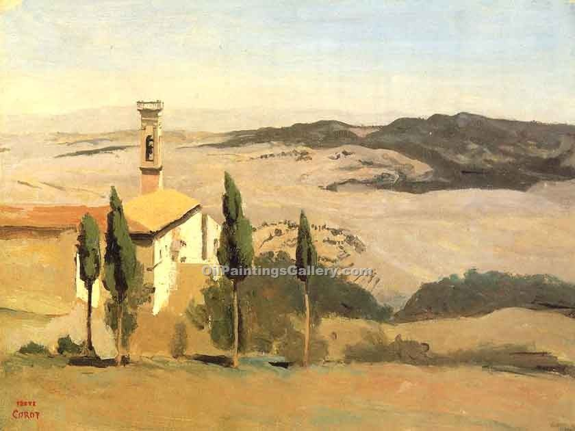 """Volterra Church and Bell Tower"" by  Jean Baptiste Corot"