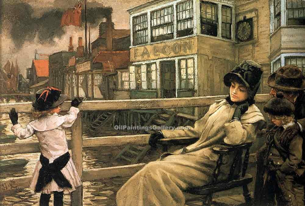 """Waiting for the Ferry"" by  James Tissot"