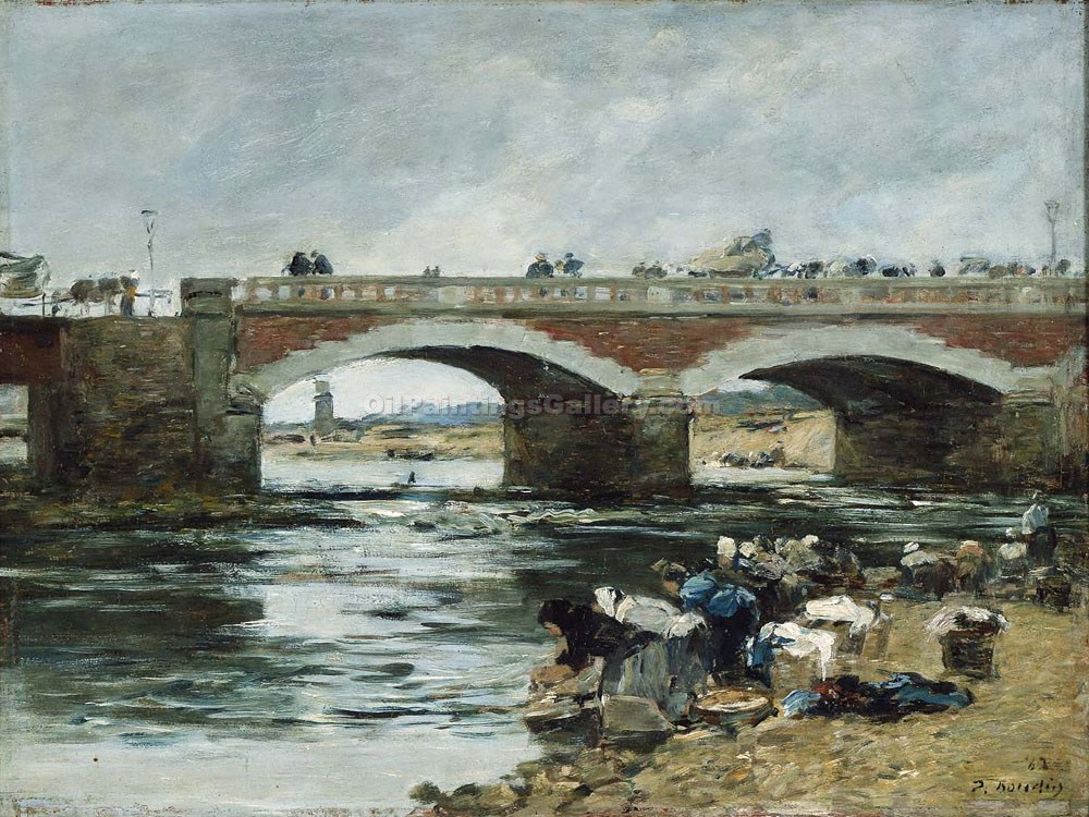 """Washerwomen near a Bridge"" by  Eugene Louis Boudin"