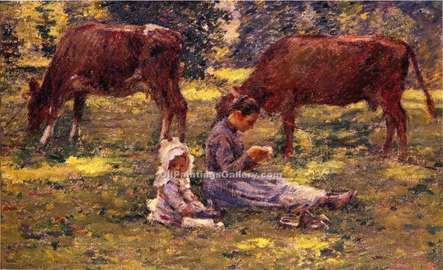 Watching the Cows by Theodore Robinson | Canvas Oil Painting - Oil Paintings Gallery