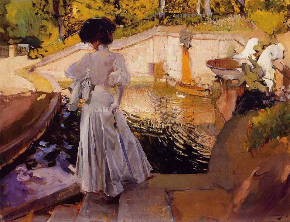 Watching the Fish, Granja by Sorolla Bastida Joaquin | Classical Paintings - Oil Paintings Gallery