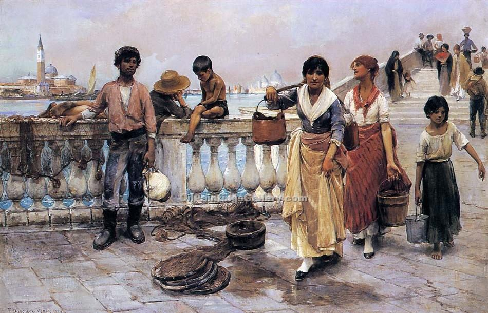 Water Carriers Venice by Duveneck Frank | Oil On Canvas Painting - Oil Paintings Gallery