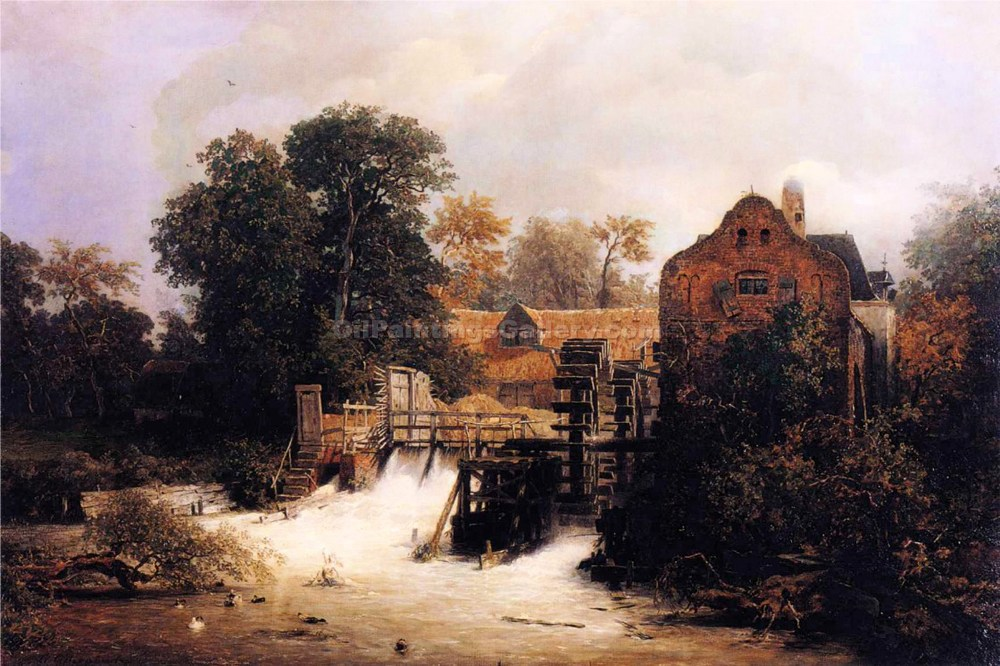"""Westphalian Mill"" by  Germany 1815 to 1910 Achenbach Andreas"