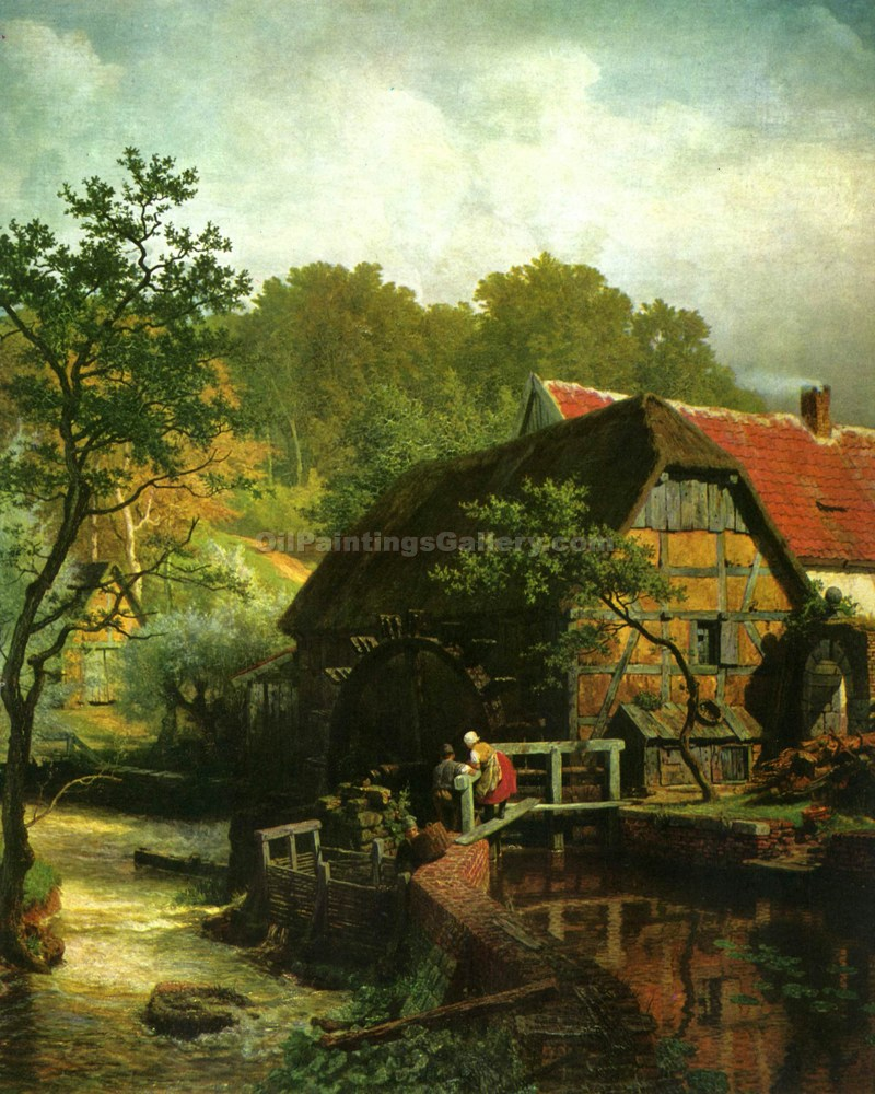 Westphalian Watermill by Achenbach Andreas | Oil Painting Gallery - Oil Paintings Gallery