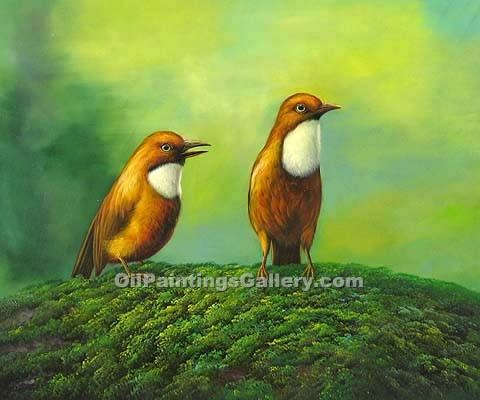 Buy Bird Paintings Online | Realism & Naturalism style Oil Paintings GalleryBirds and a Flower