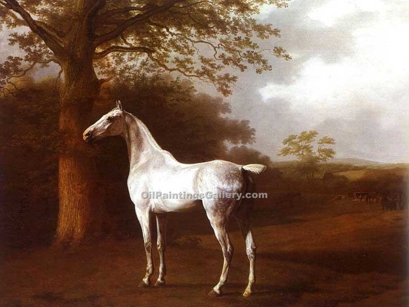 White Horse in Pasture by Jacques Laurent Agasse | Acrylic Paintings - Oil Paintings Gallery