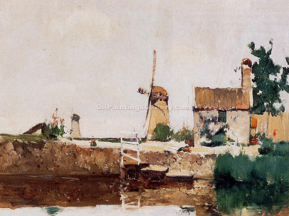 Windmills, Dordrecht by John Twachtman | Paintings For Sale Online - Oil Paintings Gallery