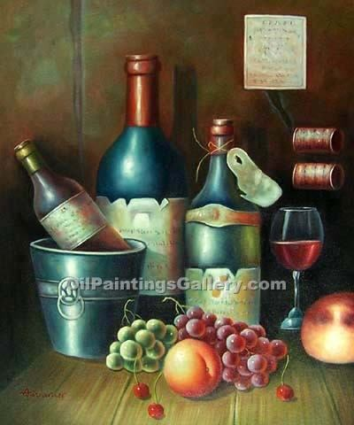Buy Still Life Oil Painting Online - Art Reproductions | Realism & Naturalism styles - Wine Bottles 53