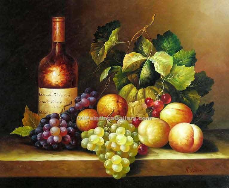 Buy Still Life Oil Painting Online - Art Reproductions | Realism & Naturalism styles - Wine and Grapes 32
