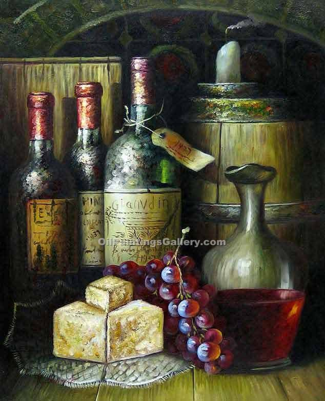 Buy Still Life Oil Painting Online - Art Reproductions | Realism & Naturalism styles - Wine and Grapes 33