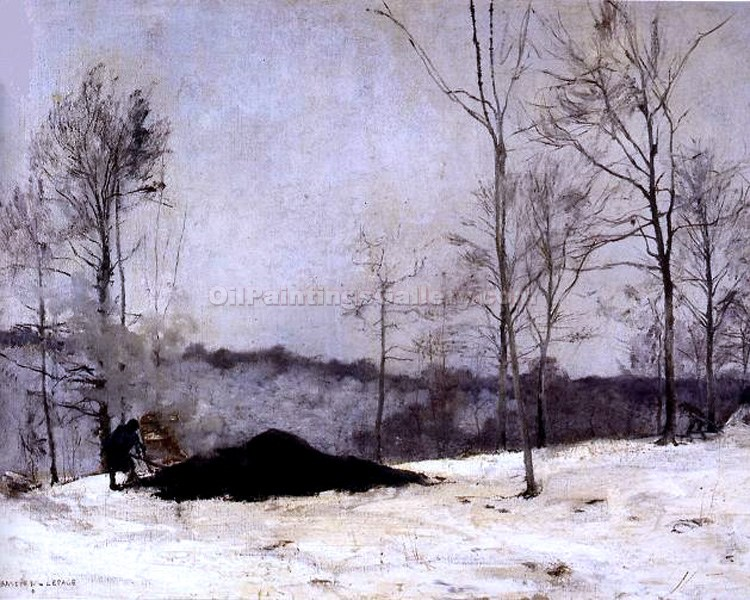 """Winter Landscape with Coal"" by  Jules Bastien Lepage"