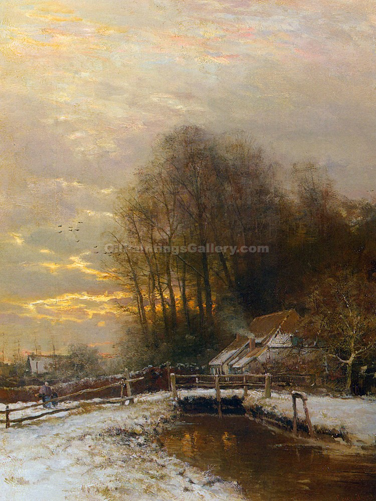Winter Landscape with Peasant Woman and Child by Louis Apol | Famous Artists Paintings - Oil Paintings Gallery