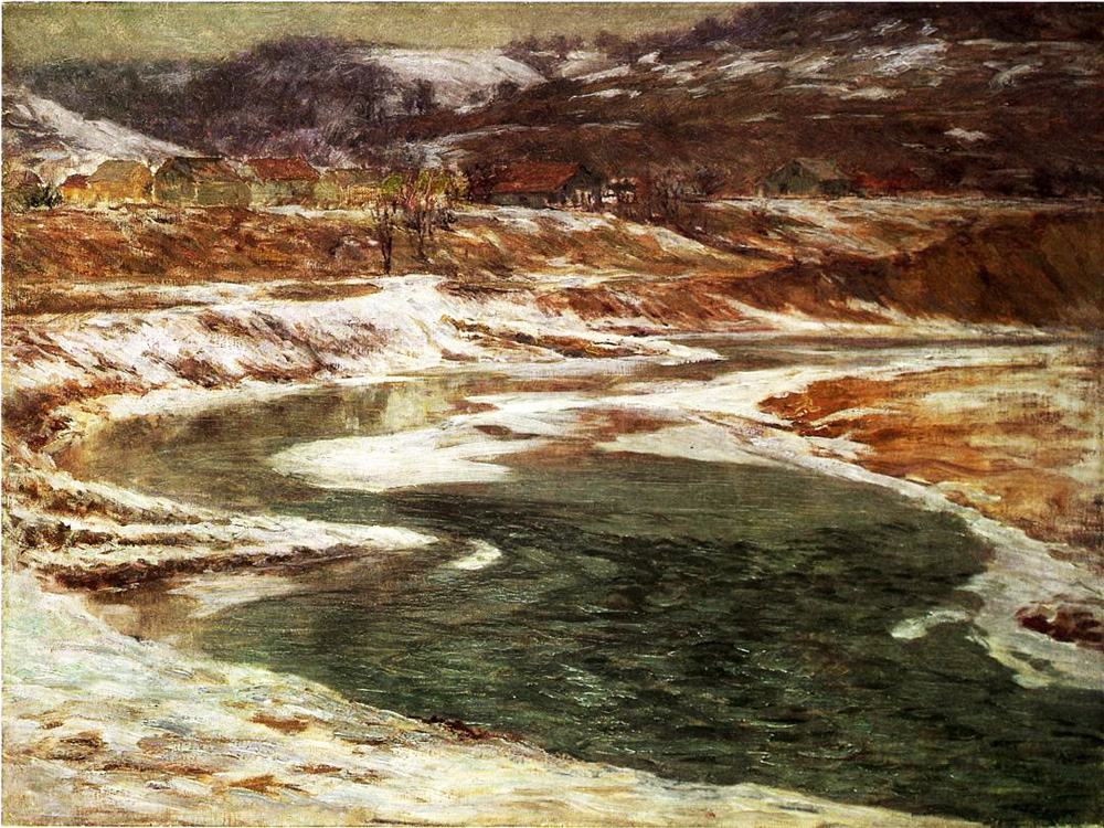 """Winter in Brookville"" by  John Ottis Adams"
