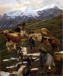 With Cattle in Autumn by  Ettore Tito (Painting ID: ED-0609-KA)