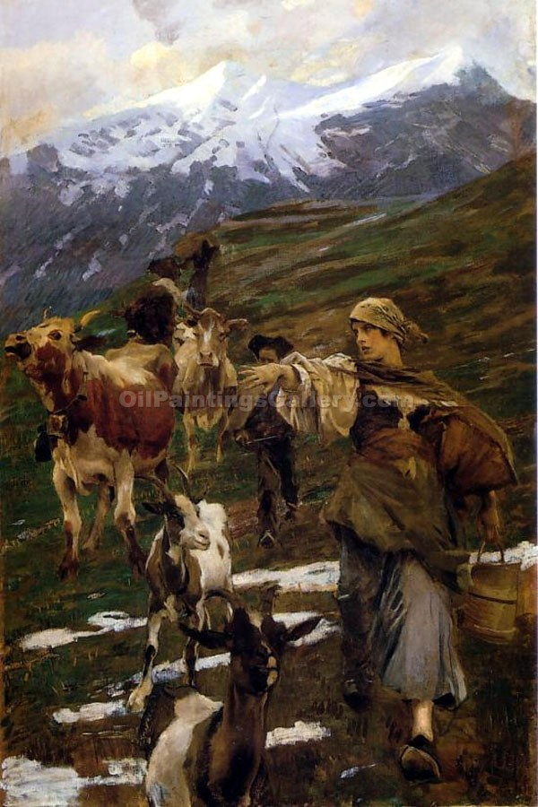 """With Cattle in Autumn"" by  Ettore Tito"