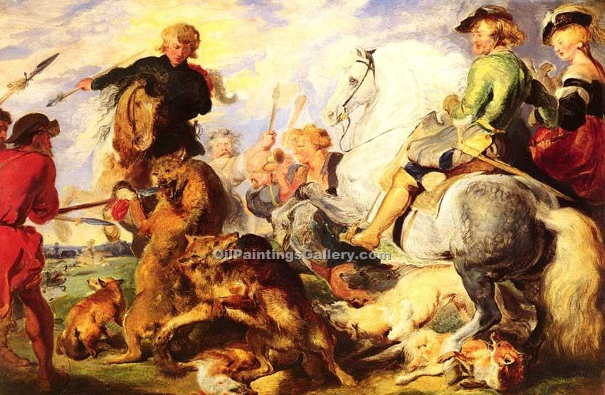 Wolf and Fox Hunt by Sir Edwin Henry Landseer | Watercolor Painting Gallery - Oil Paintings Gallery
