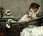 Woman Preparing her Bath by  Jules Scalbert (Painting ID: ED-0677-KA)