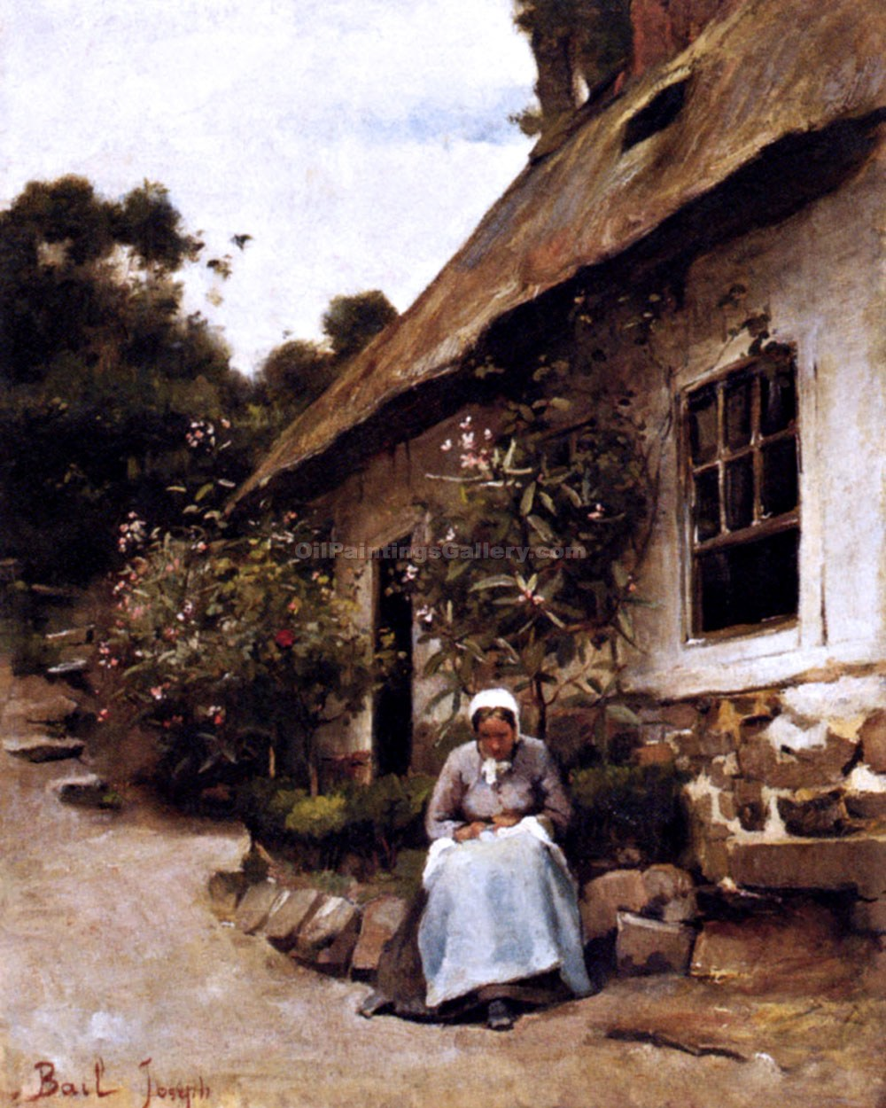 """Woman Sewing in Front of Her Cottage"" by  Claude Joseph Bail"
