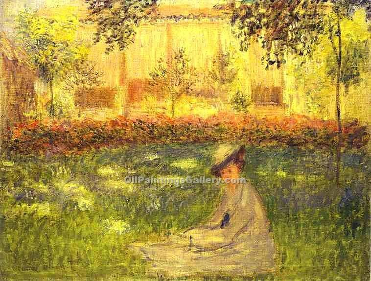 """Woman Sitting in a Garden"" by  Claude Monet"