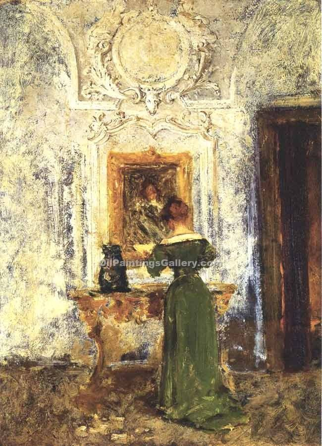 """Woman in Green"" by  William Merritt Chase"