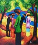 Woman in a Green Jacket 44 by  August Macke (Painting ID: EI-0344-KA)